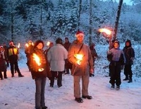 Torchlight Hike to a Traditional Mountain Lodge Party (Wallgau)