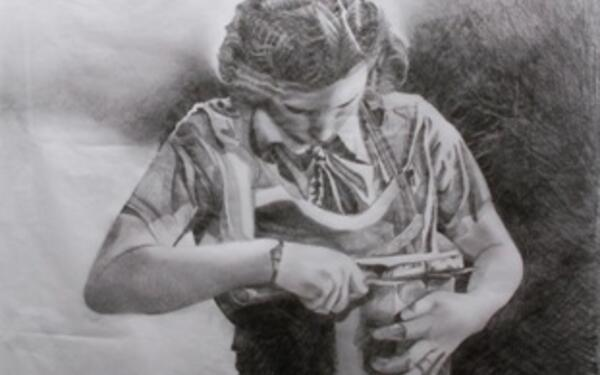 Eve Parnell: Woman cutting bread, H59 x W41 cms Pencil on Tissue paper | Eve Parnell