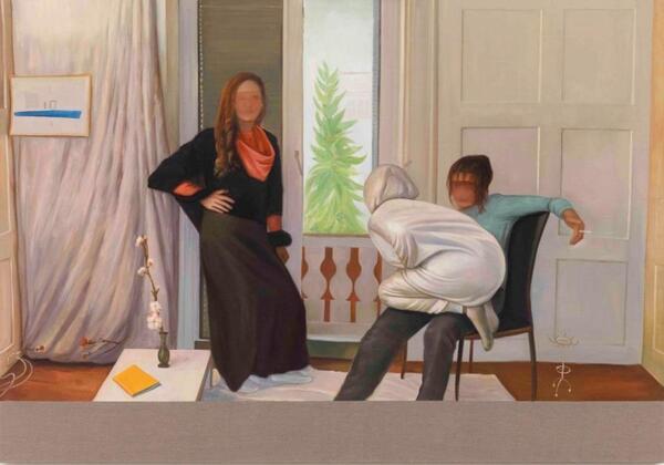 "CHRISTIAN JANKOWSKI, ""Neue Malerei - Hockney"", 2017, Oil on Canvas, 305 x 213 cm   Roman März/Courtesy GRISEBACH & Christian Jankowski"