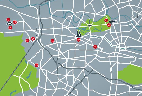 Fußball Route Berlin, Routenkarte 03 | © Fußball Route Berlin