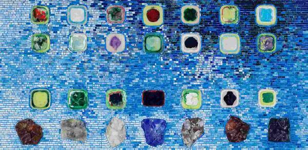 Jack Whitten, Apps for Obama, Detail, 2011, Acryl auf Hohlkerntür, 213,4 x 231,1 cmPrivatbesitz, courtesy Zeno X Gallery | © Jack Whitten, courtesy Zeno X Gallery / John Berens
