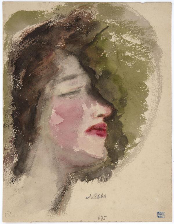 Jussuf Abbo, Ohne Titel (Frauenkopf mit roten Lippen im Profil), um 1920, © Angela Abbo, Brighton/UK, Repro: Kai-Annett Becker | Angela Abbo, Brighton/UK, Repro: Kai-Annett Becker