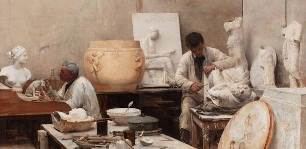 Edouard Dantan, Un atelier de moulage, Öl auf Leinwand, Detail, 1884 | © Centre National des Arts Plastiques Paris / Musée des Beaux-Arts de Limoges