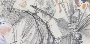 """Adolph Menzel, Ein tanzender Maler (Selbstbildnis), Detail, flüchtige Skizze zu """"Kronprinz Friedrich besucht den Maler Antoine Pesne während der Arbeit auf dem Gerüst"""", um 1861   © Staatliche Museen zu Berlin, Kupferstichkabinett / Jörg P. Anders"""