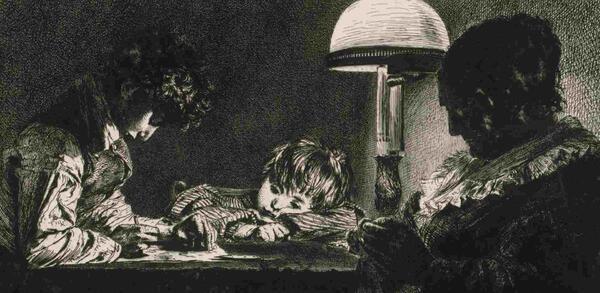 Adolph Menzel (1815–1905), Familie bei der Lampe, Detail, 1843, Radierung | © Staatliche Museen zu Berlin, Kupferstichkabinett / Dietmar Katz