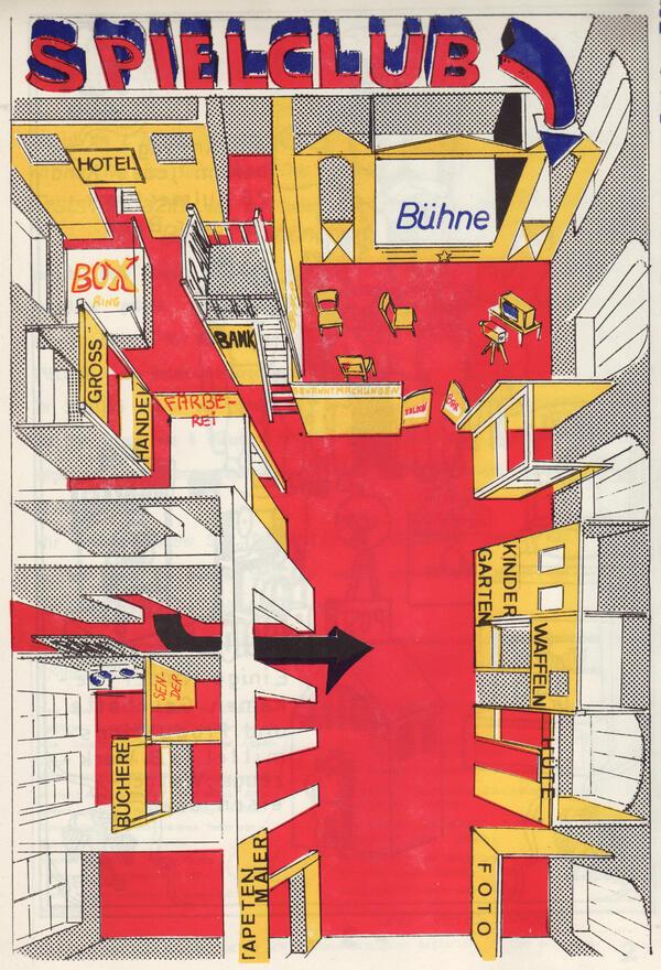 """Spielclub Kulmer Straße, Grundriss in Farbe, aus: """"Fests Magazin"""" Kinder und Jugendzeitung des Spielclubs Kulmer Str., Berlin, Mai-Juni 1971, Nr. 2, S. 4   Repro: nGbK"""