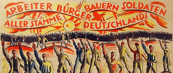 Cesar Klein, Überparteilicher Aufruf zur Wahl der nationalversammlung 1918/19. Plakat. Deutsches Historisches Museum | © VG Bild-Kunst, Bonn 2019. Foto: Arne Psille