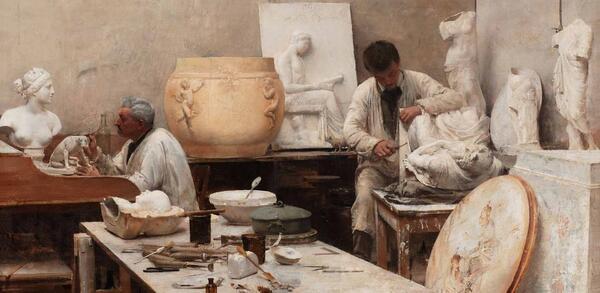 Édouard Joseph Dantan Un atelier de moulage, 1884 Öl auf Leinwand, 97 × 130 cm | © Centre national des arts plastiques, Paris / Musée des Beaux-Arts, Limoges