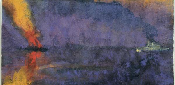 Emil Nolde, Kriegsschiff und brennender Dampfer, Detail, o. D. (vor/um 1943), Aquarell, 14,8 × 24,4cm, Nolde Stiftung Seebüll | © Nolde Stiftung Seebüll, Foto: Dirk Dunkelberg, Berlin