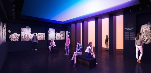 Installation des Telephos-Frieses, Ausstellungs-Visualisierung, 2018 | © asisi