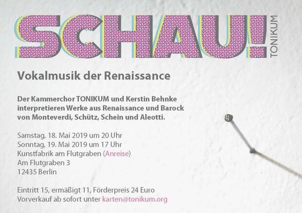 Schau! Vokalmusik der Renaissance: Kammerchor Tonikum