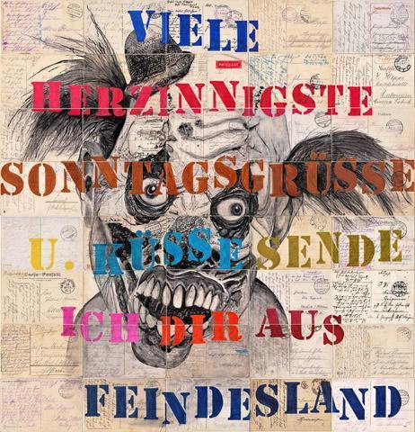 Roland Stratmann, Sonntagsgrüsse, aus der Serie: Larven, 2017/2019, Pigmenttusche auf 40 gelaufenen Postkarten von 1914-1918, ca. 72 x 70 cm   Roland Stratmann/C&K