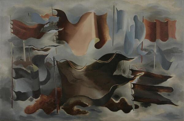 Paule Vézelay, Drapeaux d'Hiver, 1930, Öl auf Leinwand, 96,5 x 146 cm | Estate of Paule Vézelay, Foto courtesy England & Co gallery, London